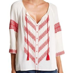 Lucky Brand Red White Tassel Peasant Top sz XL